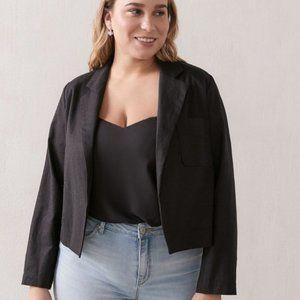 Addition Elle Short Solid Linen Blend Blazer 18